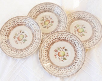 Johnson Brothers Fruit Sampler Saucers, Set of 4, Vintage, Farmhouse, Wedding, Transferware