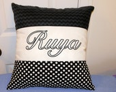 Personalized pillow cover with black chevron and black and white polka dots