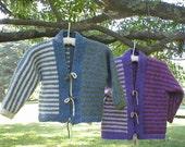 Knitting Pattern-Kids' Striped Kimono Jacket, striped super bulky kid's child's roving wool jacket pattern, Bartlettyarns Fisherman Bulky