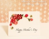 Handcrafted Mother's Day card with pink paper quilled flowers
