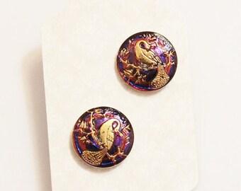 Peacock Earrings,Purple Glass Earring Studs