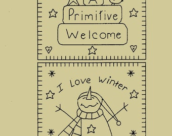 "Primitive Stitchery E-Pattern Towel Pattern, ""A Primitive Welcome & I Love Winter!"""