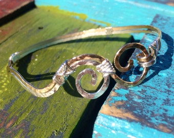 Mississippi River and Yazoo Rivers sterling and gold Hammered Wire wrapped Bracelet, mississippi delta, river bracelet