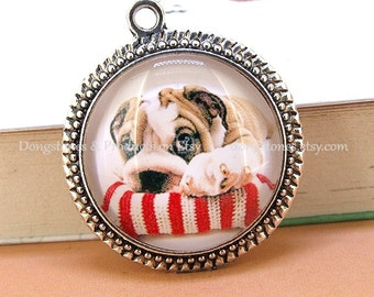 Circle Cute Yellow Dog Antique Bronze Silver Round Pendant Base Victorian Beads Tray Cabochon  1inch Pendant Kits Photo Clear Glass Ornament