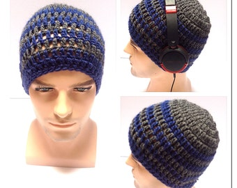 BUY1GET1HalfPRICE,Designer mans/mens/unisex hand crocheted/knitted classic beanie hat,blue, grey gaming aran hat.