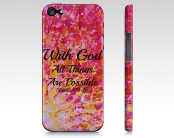 With God All Things are Possible iPhone 5 5C SE 6 6s 7 Plus Hard Case Pink Red Yellow Purple Orange Ombre Abstract Scripture Biblical Verse