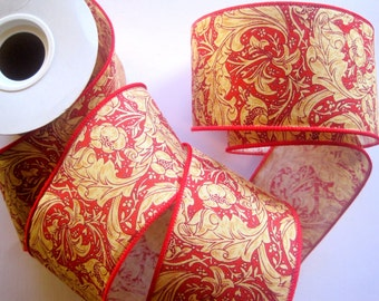 Wired Royal Ribbon Trim, Red, 2 1/2 inch wide, 1 yard, For Gift Packing, Wreaths, Center Pieces, Home Decor, Romantic Crafts.