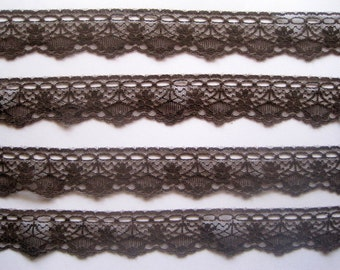 "Beading Lace Trim, Brown, 1 3/8"" inch wide, 1 Yard, For Apparel, Accessories, Home Decor, Mixed Media"