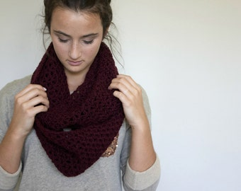 Women's Burgundy Infinity Scarf // The Brynn