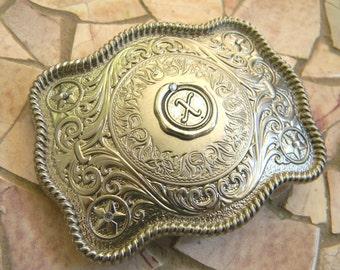 Monogram Letter X Personalized Silver Belt Buckle,Western Belt Buckle, Groomsmen Gift, Bridesmaid Gift, Custom Monogrammed Stamp Belt Buckle