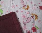 """MERMAID & FLOWER cotton flannel blanket.  Pink background w/maroon backing.  41 1/2"""" x 41 1/2"""".  Receiving blanket, lap blanket."""