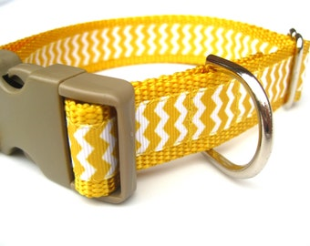"Yellow Chevron Collar. 1"" wide, available in M, L, XL"