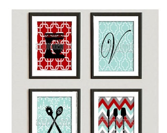 Digital Personalized Wall Art Red Grey Turquoise Unframed Kitchen Utensils Art Collection. (4) 5x7