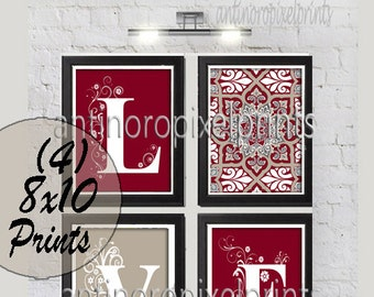 Home Decor Digital Love Burgundy Khaki / Red Grey Wall Art Vintage / Modern Inspired -Set of (4) - 8x10 Prints -  (UNFRAMED)