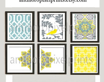 Digital Print Wall Art Yellow turquoise Grey Vintage / Modern inspired Wall Art -Set of 6 - 12x12 Prints -   (UNFRAMED)