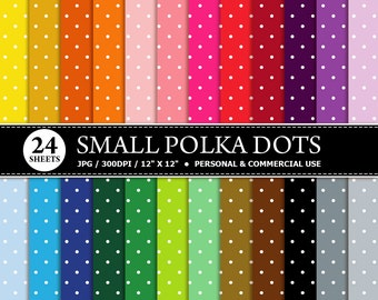 24 Small Polka Dots Digital Scrapbook Paper, digital paper patterns for card making, invitations, scrapbooking