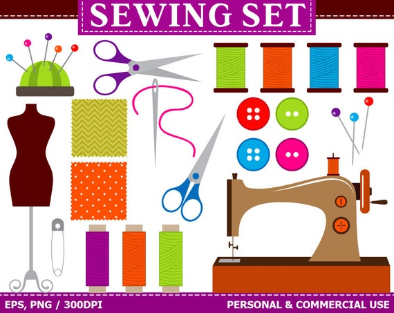 Digital Sewing Clip Art Sewing Machine Buttons Threads