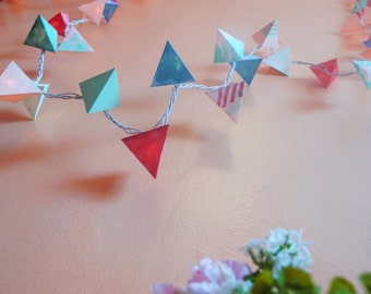 Paper Pyramid Lanterns - APRIL - handmade fairy lights in mint, rust, cream, and periwinkle with striped and marbled details