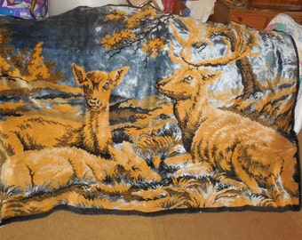 Tapestry Textile Of Family of Deer, Wall Hanging  Tapestry, Deer, Wild Life, Vintage Home Decor,