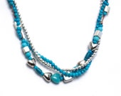 3 three delicate strands turquoise, silver hand knotted on silk, eclectic, variety