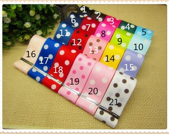21 YARDS of 7/8 Grosgrain Polka Dot Ribbon - You Receive 1 Yard Each of 21 Polka Dot Ribbon