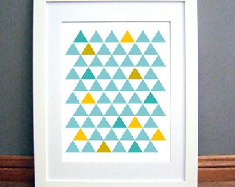 Triangle Grid Blue Yellow Gold, Printable Wall Art, Geometric, Modern, Downloadable pdf