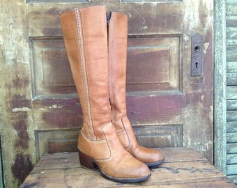 Sienna Brown Leather Boots, Knee High Campus Hippie Boots, Size 5 6 Small