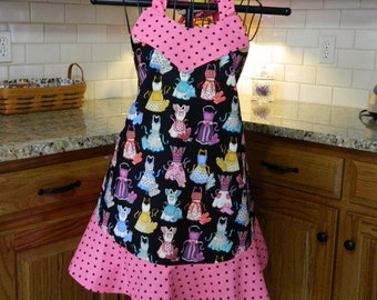 Aprons Apron with Pink and Black Polka Dots, Designer Fabric