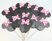 12 Black Glitter Minnie Mouse Cupcake Toppers w/Hot pink and White Polka Dot Bows No. 103