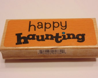 LARGE Happy Haunting, rubber stamp, 75 mm (SB3)