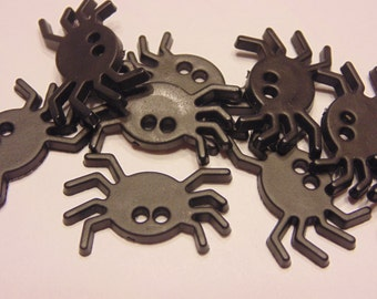 6 flat spider buttons, 25 x 17 mm (9)