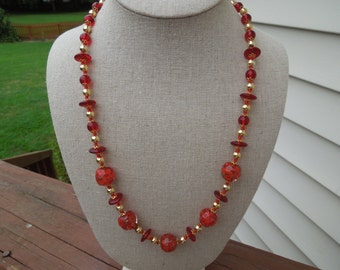 Vintage Red Necklace.  Glass Beads, Gold Tone Beads and Filigree Spacers.