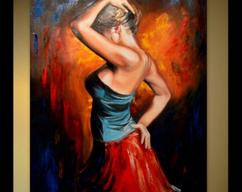 Original Oil Painting - Latin Tango Passion Dancer - Dancing Woman - Dance Painting - Belly Dancer - Flamenco Spanish Female Figurative Art