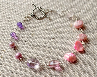 Gemstone Bracelet, Orchid Purple, Pink Amethyst Topaz Rose Quartz Freshwater Pearl, Bridal Jewelry - Changing Bouquet - Free Shipping