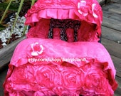 45% offBaby Car Seat Cover Canopy Blanket, Infant Car Seat Cover Canopy Blanket, 3D Rosette Damask Pink, Baby Girl, fit most car seat,
