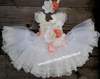 SALE Extra Full Flower Girl Lace Dress, Baby Doll Bridesmaid Girl Wedding, 1st Birthday Girl, Sash Ruffle Lace Country Couture Style Rustic