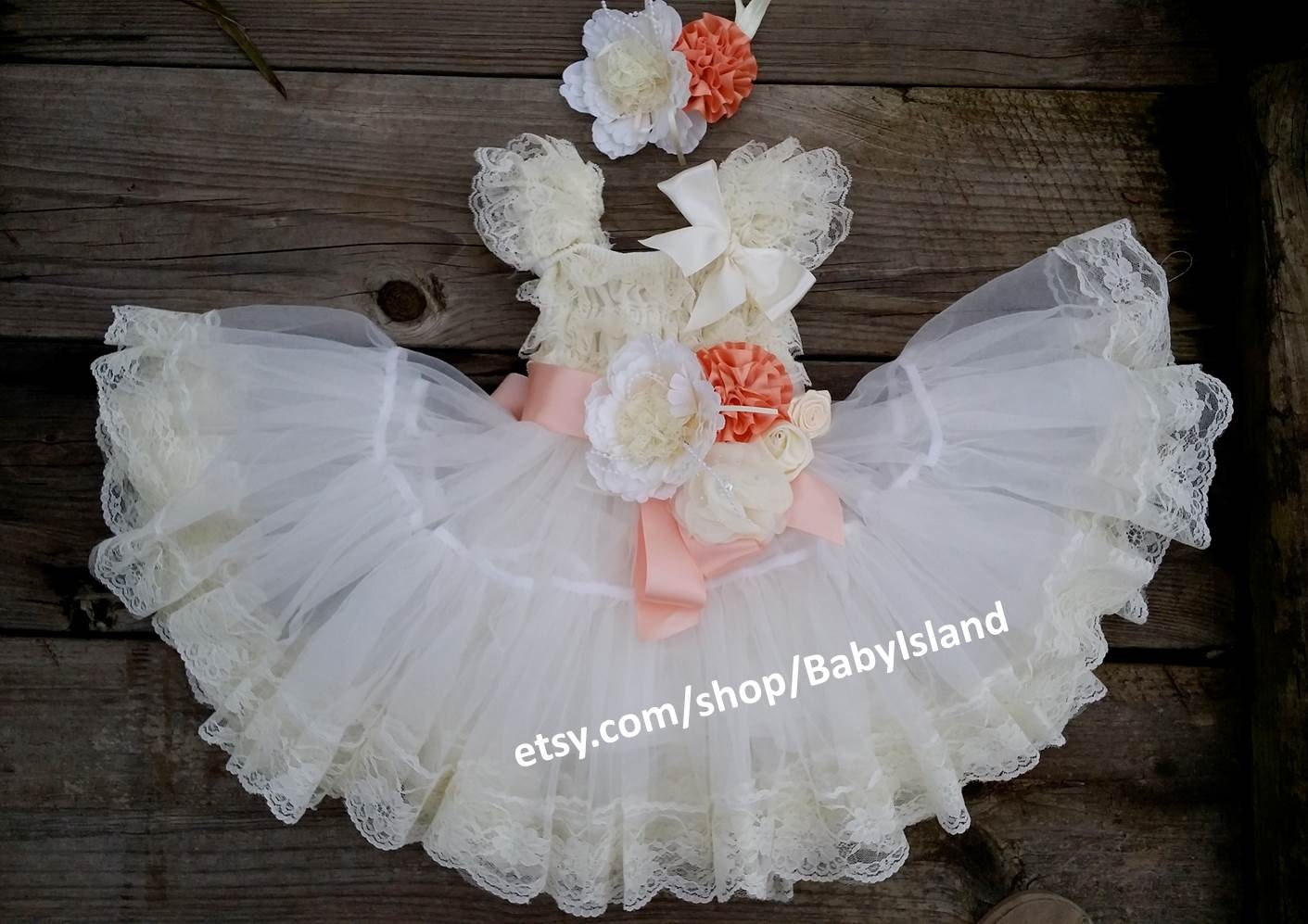 Sale extra full flower girl lace dress baby doll bridesmaid for Baby doll style wedding dress