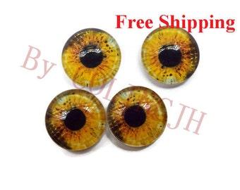 10pcs  12mm Colored  Glass Eyes Flat Back  Animal Craft Eyes Handmade Glass Cabochon