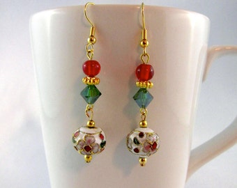 Cloisonne earrings, red and green, holidays, beaded earrings, Swarovski crystals