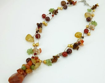 Carnelian,freshwater pearl,peridot hand knotted on silk thread necklace.