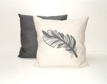 Decorative Throw Pillow,  Feather Unbleached Cotton Pillow Case, Appliqued, dark grey and grey