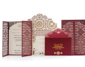 Custom Laser cut Luxury Wedding invitations - Metallic Foil Luxury Wedding Invitations - Red and Gold Laser Cut Invitations - InviteCouture