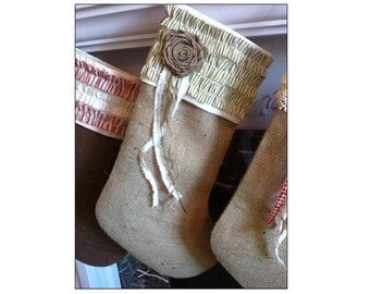 READY TO SHIP!  Lined Natural Wool Burlap, Green and Cream Accented Christmas Stocking