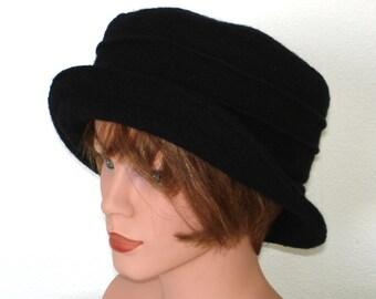 Hat black Hat Bucket Hat boiled wool - black - Womans Hat - Wool Hat Formal Hat- 20 colors / every size