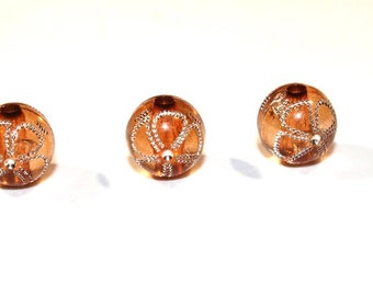 10pcs Looses Brown Beads/ Basketball wives earrings /Acrylic Beads/ 12mm