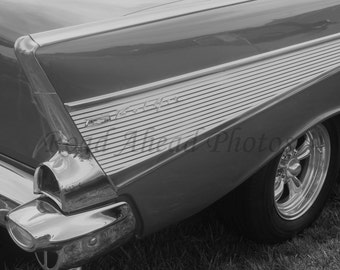 black and white 8 x 10 matted photograph of a 1957 Chevy