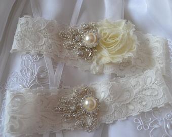 Wedding Garter  Bridal Garter Set-Ivory Garter- Shabby Chiffon Garter Set