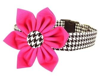 Pink Houndstooth Flower Dog Collar, Houndstooth Dog Collar Flower: Black and White Houndstooth
