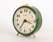 Vintage Soviet Russian Mechanical Green Alarm Clock Jantar - ARoadThroughTime