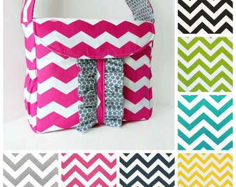 Pink Chevron Lola Bea Diaper Bag Large Girl or  boy Messenger Bag Design Your Own